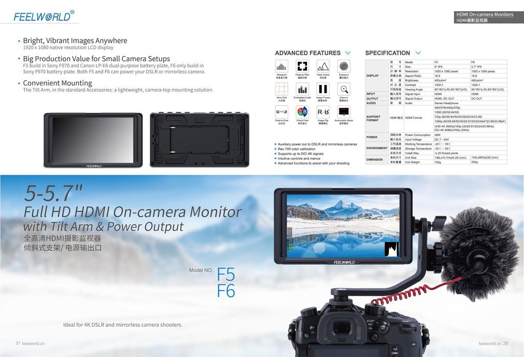 富威德F6S 5寸单反监视器相机高清视频摄影摄像导演4K监视器手持稳定器专业微单显示器HDMI摄影显示器屏
